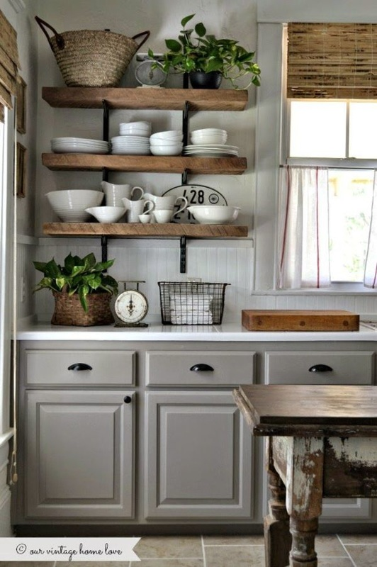 Farmhouse kitchen Floating shelves and glass cupboards, yay ...